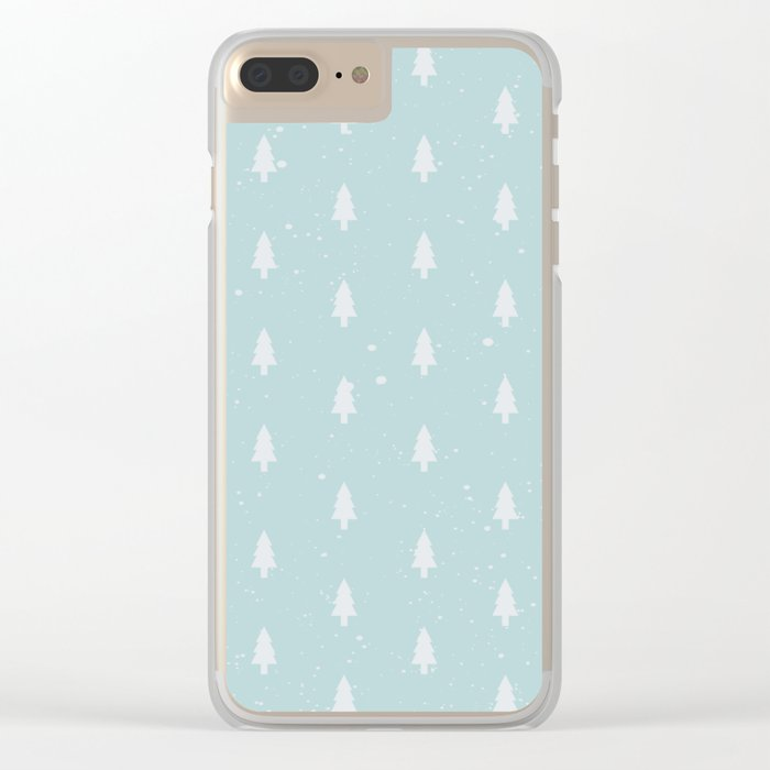 Christmas Trees Pattern Light Blue Clear iPhone Case