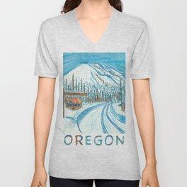 Mt Bachelor Oregon Travel Poster Unisex V-Neck