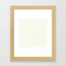 Beige White Herringbone Pattern Framed Art Print