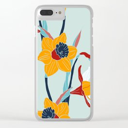 Mid Century spring flowers Clear iPhone Case