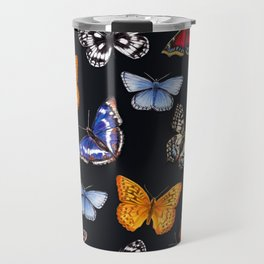 Butterflies On Black Travel Mug
