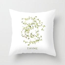 Watercolor Thyme Artwork Throw Pillow