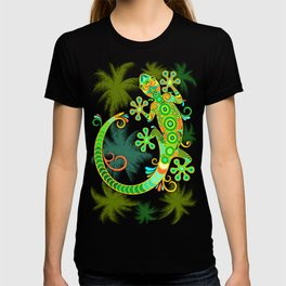 Gecko Lizard Colorful Tattoo Style T-shirt