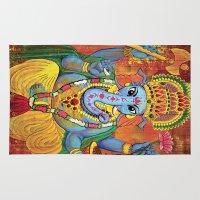 ganesha Area & Throw Rugs featuring Ganesha by Amanda Iglinski