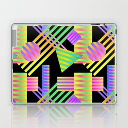 Neon Ombre 90's Striped Shapes Laptop & iPad Skin