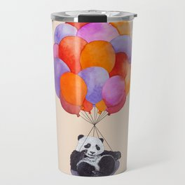 Panda flying with balloons Travel Mug