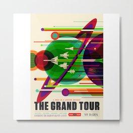 NASA Outer Space Saturn Shuttle Retro Poster Futuristic Explorer Metal Print