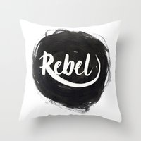 rebel Throw Pillows featuring Rebel by thezeegn