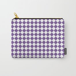 Small Diamonds - White and Dark Lavender Violet Carry-All Pouch