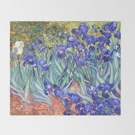 Vincent Van Gogh Irises Throw Blanket