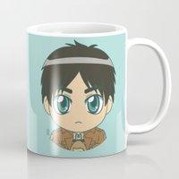 shingeki no kyojin Mugs featuring Shingeki no Kyojin - Chibi Eren Flats by Tenki Incorporated