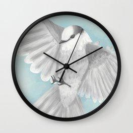 Gray Jay in Flight Wall Clock