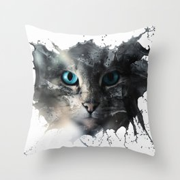 Cat Splash Throw Pillow