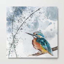 Kingfisher Chinese Style Original Watercolor Painting Design Metal Print
