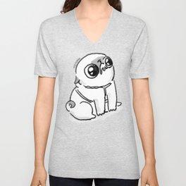 Mochi the pug begging Unisex V-Neck
