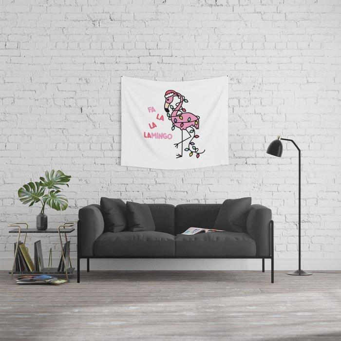 Christmas Flamingo Wall Tapestry