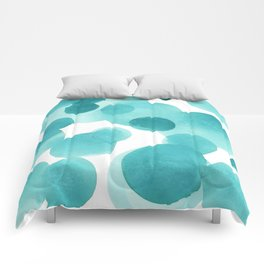 Aqua Bubbles: Abstract turquoise watercolor painting Comforters