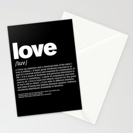 Define LOVE w/b Stationery Cards