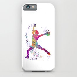 Girl Baseball Player Softball Pitcher Colorful Watercolor Sports Artwork iPhone Case