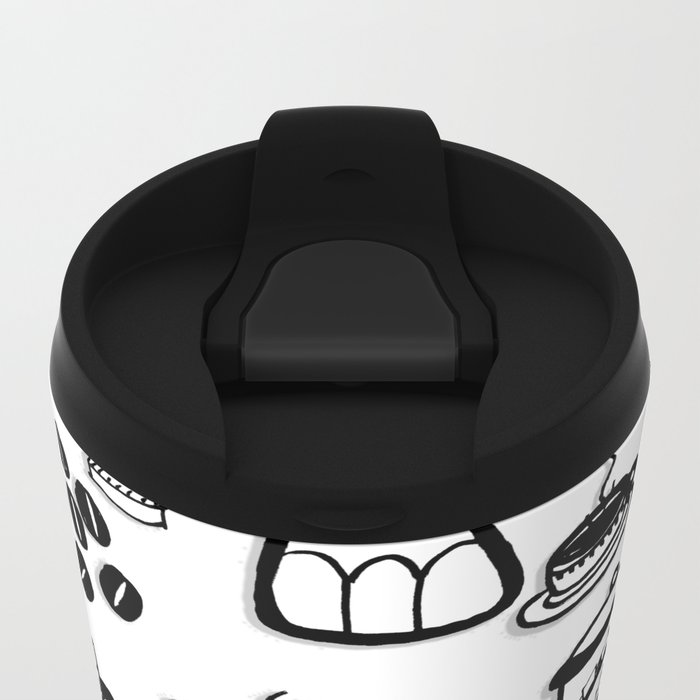 Coffee Doodles Metal Travel Mug