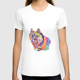 Akita in a spectrum of colour T-shirt