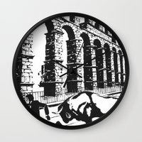 spain Wall Clocks featuring Spain by Carolyn Campbell
