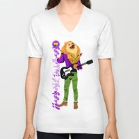 pomeranian V-neck T-shirts featuring Pomeranian Rock Dogs - Guitar Dog Hero by Butcher Billy