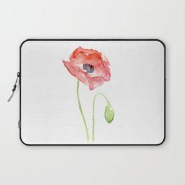Red Poppy Watercolor Flower Floral Abstract Laptop Sleeve