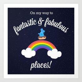 Milo Blue Cat Space Chocolate Donut Over Rainbow Art Print