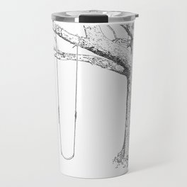 tree and swing, drawing black and white Travel Mug