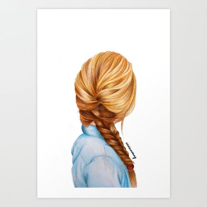 blonde fishtail braid girl drawing art print by vivianhitsugaya