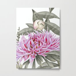 Pink And Gray Spring Peony Bouquet Metal Print