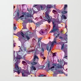 May Afternoon - a watercolor floral in purple and peach Poster