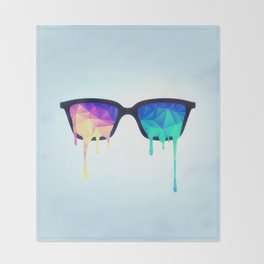 Psychedelic Nerd Glasses with Melting LSD/Trippy Color Triangles Throw Blanket