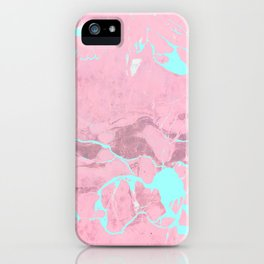 Pink Marble with Light Blue iPhone Case