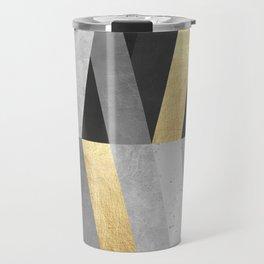 Gold and gray lines I Travel Mug