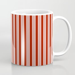 Small White and Dark Salem Red Milk Paint Stripes Coffee Mug