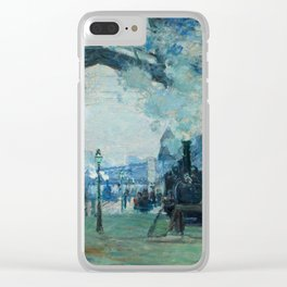 "Claude Monet ""Arrival of the Normandy Train, Gare Saint-Lazare"" Clear iPhone Case"