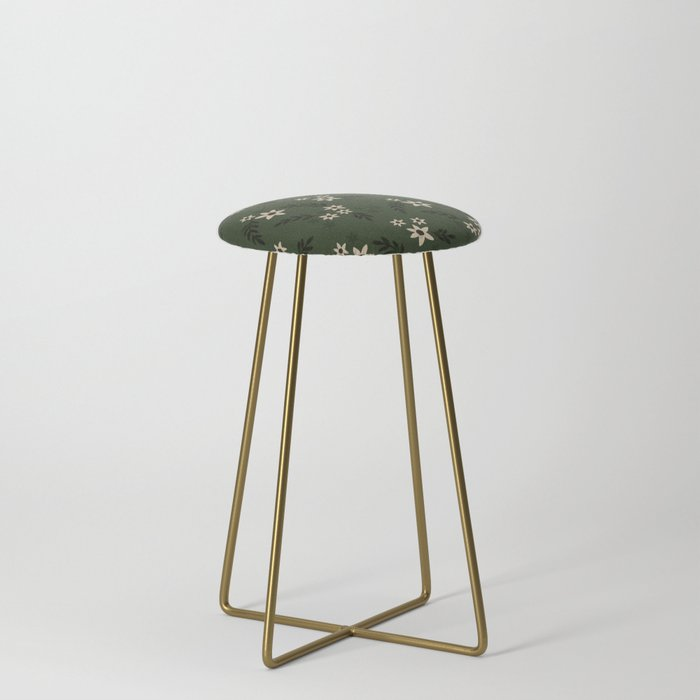 Green Ditsy Florals Counter Stool