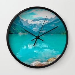 Digital Painting of a Sunny Summer's Day over Lake Louise in Banff National Park, Alberta Wall Clock