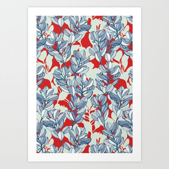 Leaf and Berry Sketch Pattern in Red and Blue Art Print