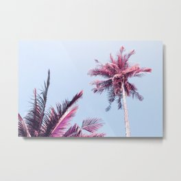 Pink Coco Palm Trees on Blue Sky Tropical Summer Poster Metal Print