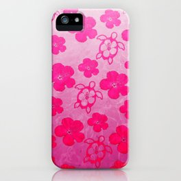 Pink Hibiscus And Honu Turtles iPhone Case