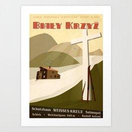 Retro ski poster from the Second World War Art Print