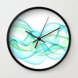 Sea Wave Pattern Abstract Aqua Blue Green Waves Wall Clock