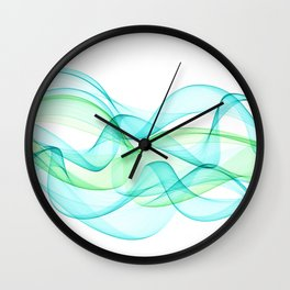 Sea Wave Pattern Abstract Aqua Blue Green Waves Wall Clock