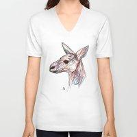 kangaroo V-neck T-shirts featuring Kangaroo by Ursula Rodgers