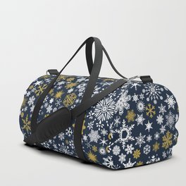 A Thousand Snowflakes in Twilight Blue Duffle Bag