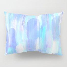 Abstract Layered Brush Texture Cold Shade Blue Cyan Pillow Sham