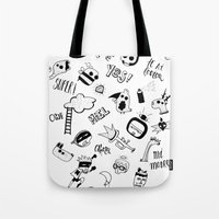 random Tote Bags featuring Random by Primo